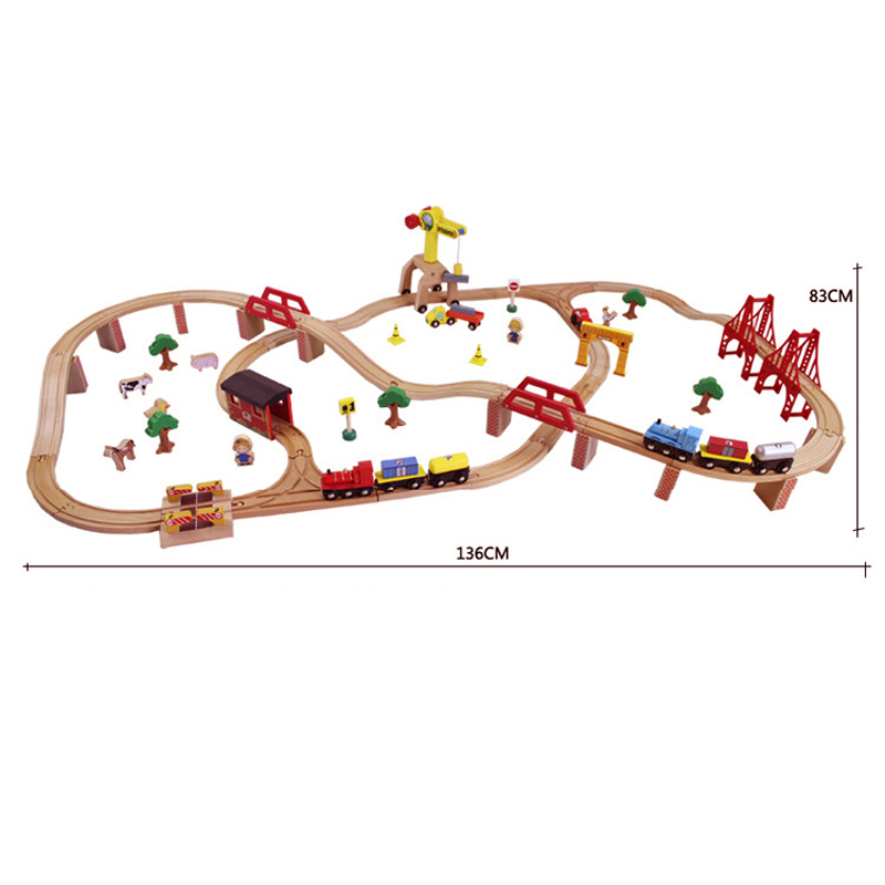 Best Birthday Gift 100pcs/set Wooden Tomas railway train track toys with a electric train head for baby(China (Mainland))