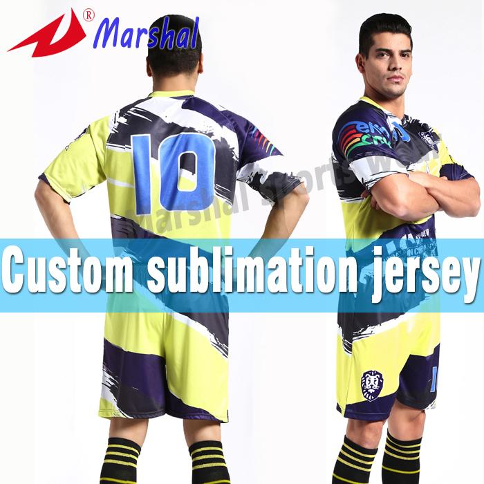 2015 Newest Football Uniform Set Design Dry Fit Sublimated Thai Football Jersey(China (Mainland))