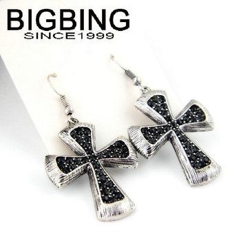 Bigbing мода ювелирные изделия мода ретро крест черный красный горный хрусталь серьги 2 цвета оптовая продажа мода ювелирные изделия самой последней конструкции B482