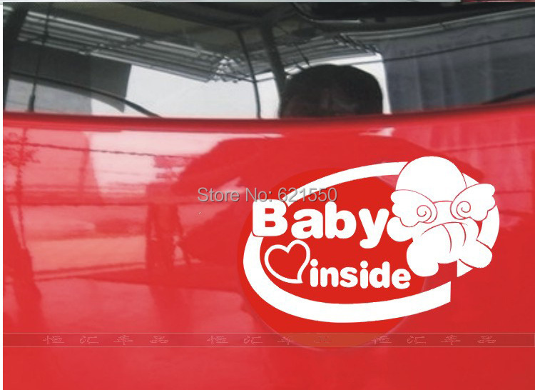 Pioneered&Top New Car Styling Baby in Cars Rear Door Waterproof Stickers Car Reflective Film Wholesale Warning Sticker Vinyl(China (Mainland))