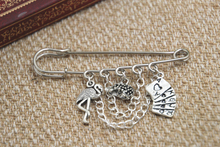 12pcs Alice in Wonderland inspired Flamingo themed charm with chain kilt pin brooch (50mm)