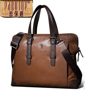 High Quality 2014 Fashion Men Brand Real Leather Oxhide Hand bag Briefcases Shoulder Messenger Bag Khaki Black and Blue Colors(China (Mainland))