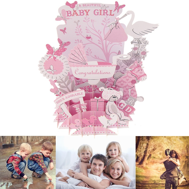 1pc 3d pop up girl baby paper greeting cards laser cut baby shower 1pc 3d pop up girl baby paper greeting cards laser cut baby shower birthday souvenirs gift card for lover wishes invitations m4hsunfo