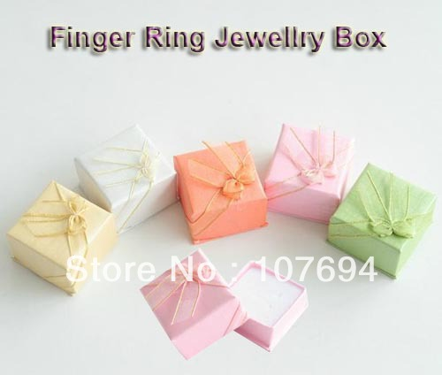 Free shipping HIGH QUALITY! Wholesale 120pcs/lot Finger Ring Jewellry box 4*4*2.5cm Mix 5 colors(China (Mainland))