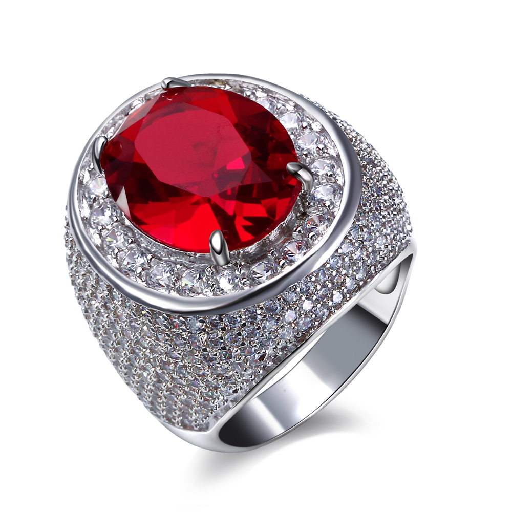 Wedding party Jewelry/ring for Ladies Platinum plate Prong Setting with Red/Blue AAA cubic zirconia Ladies luxury rings(China (Mainland))