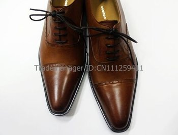 custom handmade genuine calf leather men's dress brown shoe No.OX102