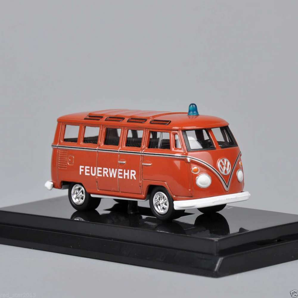 Mini 1/64 Scale Bus Model Volkswagen VW BUS T1 Feuerwehr Model Diecast Car Toys Kyosho Vehicles Collection Gift For Collectors(China (Mainland))