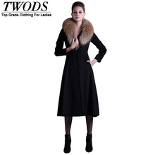 TWODS 2014 new women's long wool winter coats woolen overcoat big fur collar belted high-end quality camel black(China (Mainland))