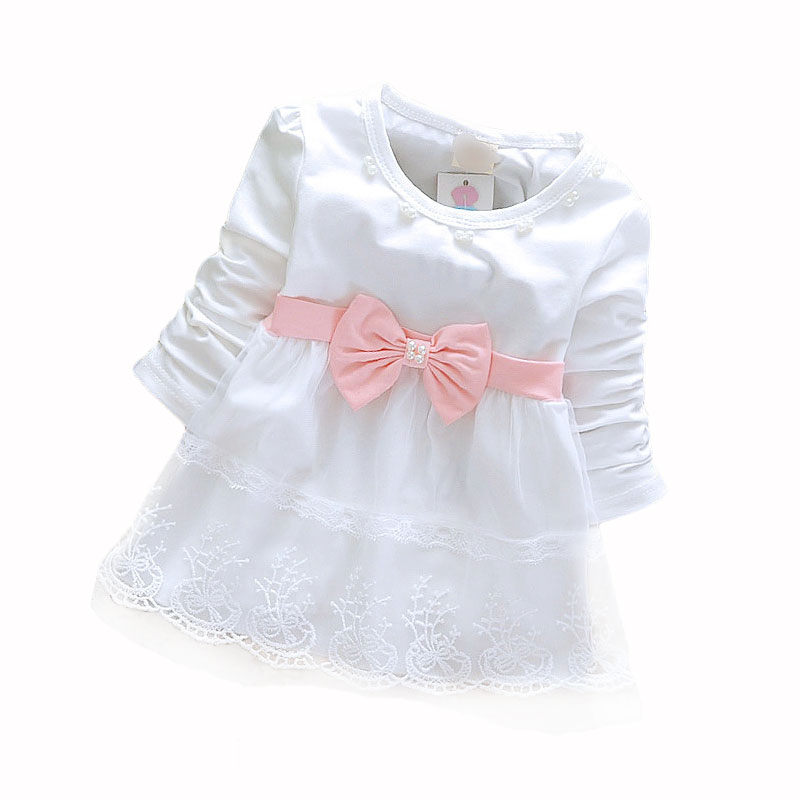 2015 Fashion Autumn Long Sleeve lace Bow cute baby Party Birthday girls kids Children dresses, princess infant Dress(China (Mainland))
