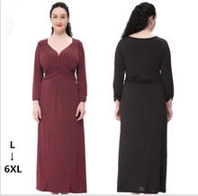Fashion Autumn Red Black Maxi Dress Women Casual Elegant V-neck Long Sleeve Dresses Plus Size vestidos de fiesta 3XL 4XL 5XL 6XL