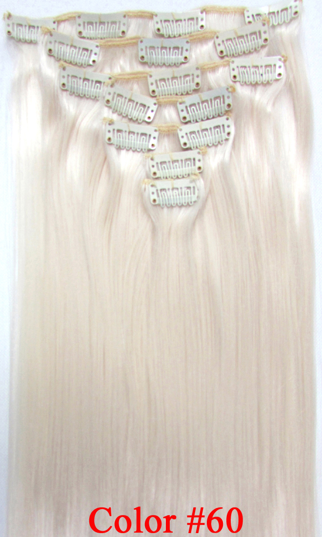 24 (60cm) 130g straight clip in hair extensions no shiny synthetic fiber color  #60 Milk<br><br>Aliexpress