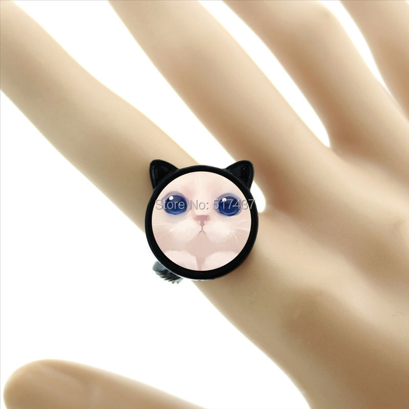 New Fashion Pink Cat Ring Pink Cat Picture Adjustable Ring For Girls Glass Dome Ring Black Ear Rings CR-00235(China (Mainland))