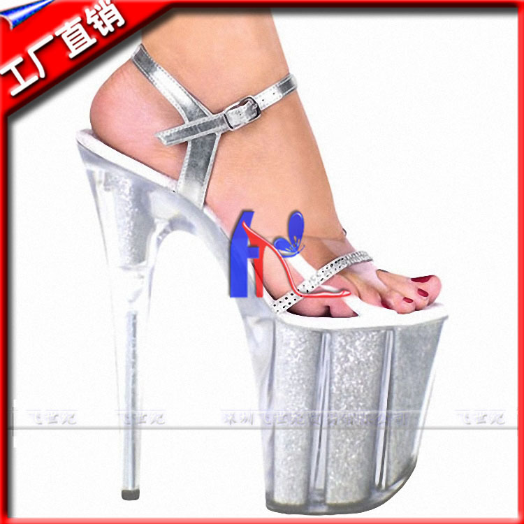 2015 Real Top Fashion Unisex Lace-up Rhinestone Sandal Fly- Plastic Sandals Are Core With Diamond Pole Dancing Show Party Shoes(China (Mainland))