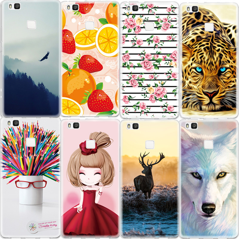 Mobile Phone Case For Huawei Ascend P9 Lite P8 Lite Honor 8 5C Animals Girl Printed Pattern Soft TPU Back Cover Silicone Capa(China (Mainland))