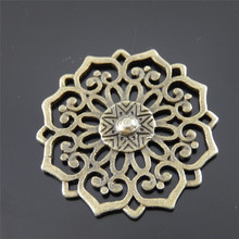 Buy Julie Wang 5pcs Mini Charms Antique Bronze Hollow Round Flower Pendant Handmade Hanging Crafts for $1.20 in AliExpress store