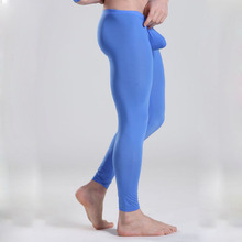 Men's sexy sheer transparent smooth underpants Low-waist sexy ankle length Leggings Ultra-thin Long johns(China (Mainland))