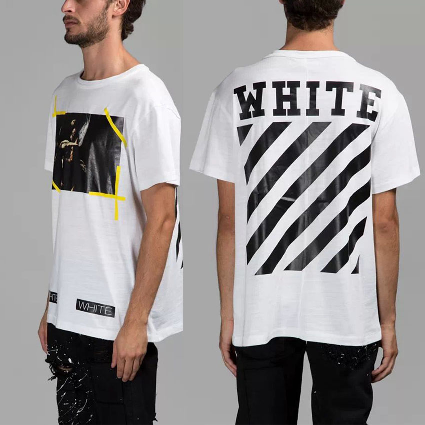 2015 European American mens clothing fashion male white splash-ink skull print shortsleeve casual o-neck t-shirt - Sendu Mall store