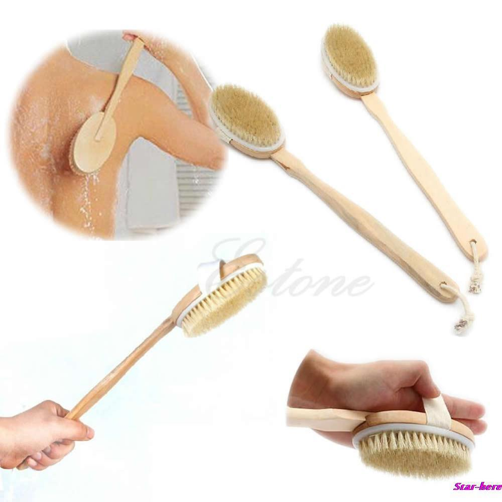 Free Shipping 6pcs Natural Long Wooden Body Brush Massager Bath Shower Back Spa Scrubber back mesh shower healthy beauty care(China (Mainland))