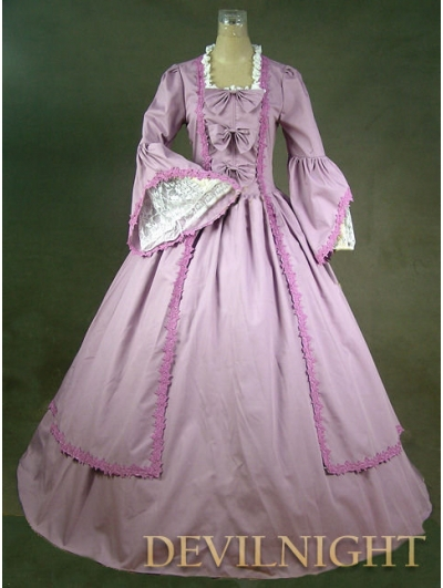 Lavender Ball Gowns Sleeves Marie Antoinette Victorian Dress(China (Mainland))
