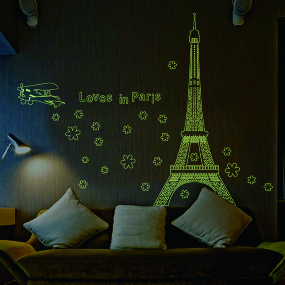 2014 Love in Paris Night eiffel tower decoration luminous stickers wall home living room decals glow in the dark ABQ9604(China (Mainland))