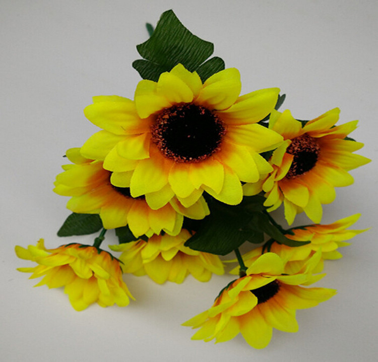 1 Bouquet Home Party Decor Display Artificial Silk Flower Simulation Sunflower Bouquet DIY artificial flowers 7