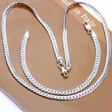 Fashion Men's  Silver Bracelet + Necklace Curb Chain Wholesale  Silver Plated Jewelry Set(China (Mainland))
