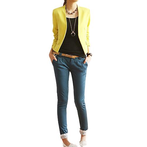 Женская Корея Конфеты Типа Цвет Сплошной Тонкий Костюм Blazer Куртки