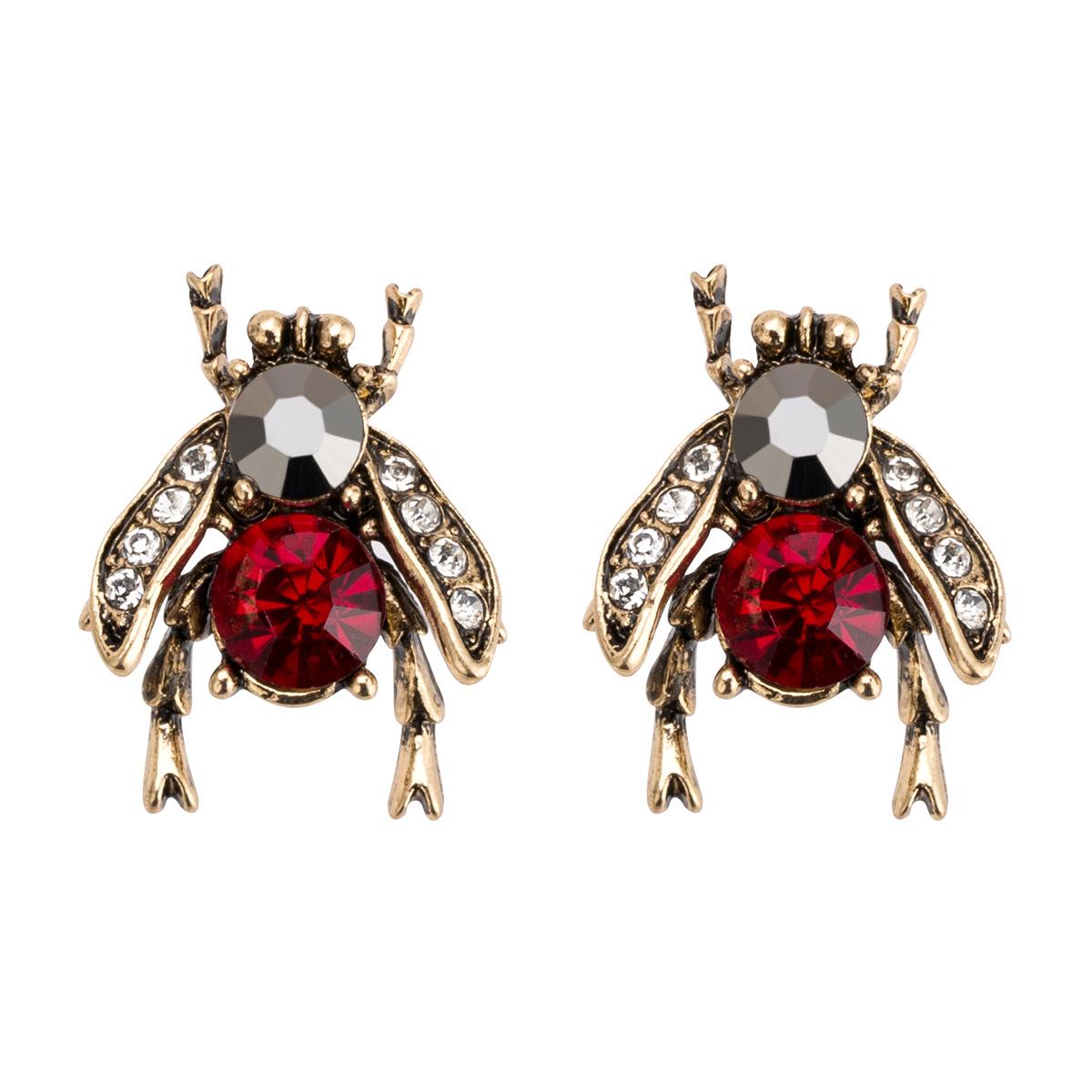 Новая мода Личность пчелы Кристаллические Серьги Симпатичные Сплав заявление 1