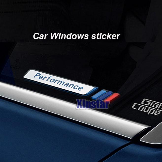 2pcs acrylic M Power M performance car windows sticker for BMW F30 316i 320i E21 E30 E36 E46 E90 E91 F10 F20(China (Mainland))