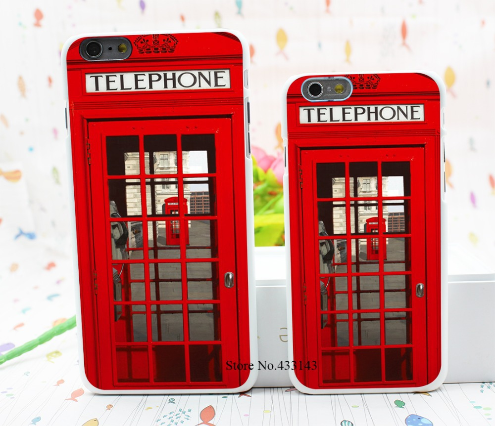 Vintage London Telephone Box Style Hard White Cover Skin Back Case for iPhone 6 6s 6 plus(China (Mainland))