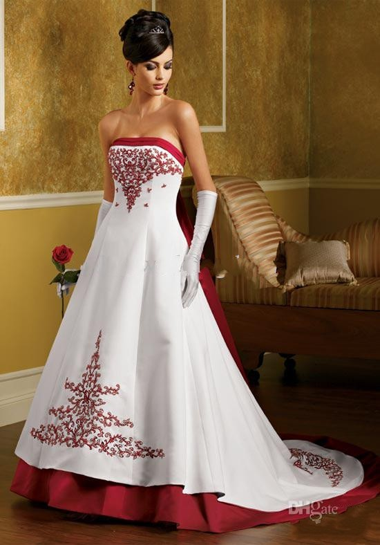 Strapless A Line Wedding Dresses White And Red Satin
