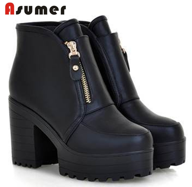 AISIMI 2015 personality platforms 4cm comfortable women ankle boots round toe Ultra high heels Motorcycle boots for ladies<br><br>Aliexpress