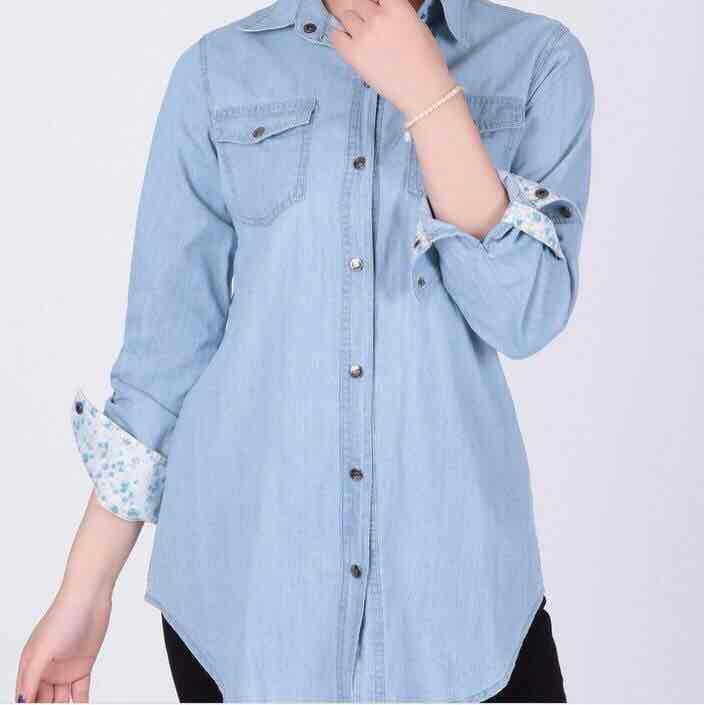 HOT Women Denim Shirts Blouses Long Sleeve Solid Blusa Feminina Renda Casual Lady Clothes Blusas Mujer Plus Size S-XXXL Sky Blue(China (Mainland))