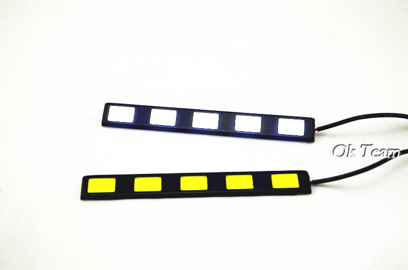 High quality 2x COB 5 LED DRL Daytime Running Light Car Driving Lamp Waterproof 12V DC free shipping(China (Mainland))