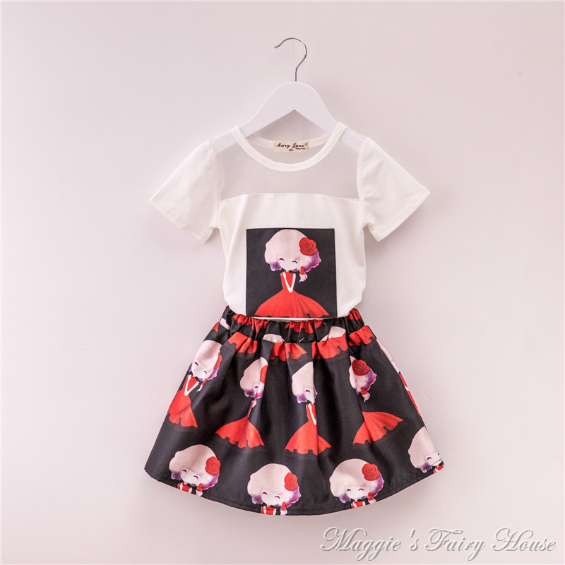 2015 Hot sale high quality cotton casual clothing sets for girls printd T-shirt +  printed short skirt  2PC suits free shipping<br><br>Aliexpress