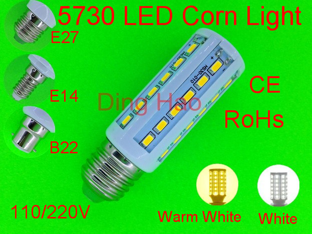 NEW High brightness SMD 5730 E27 LED bulb AC 220V 12W LED lamp 36leds,Warm white/white 5730 Corn Light,chandelier ,free shipping(China (Mainland))