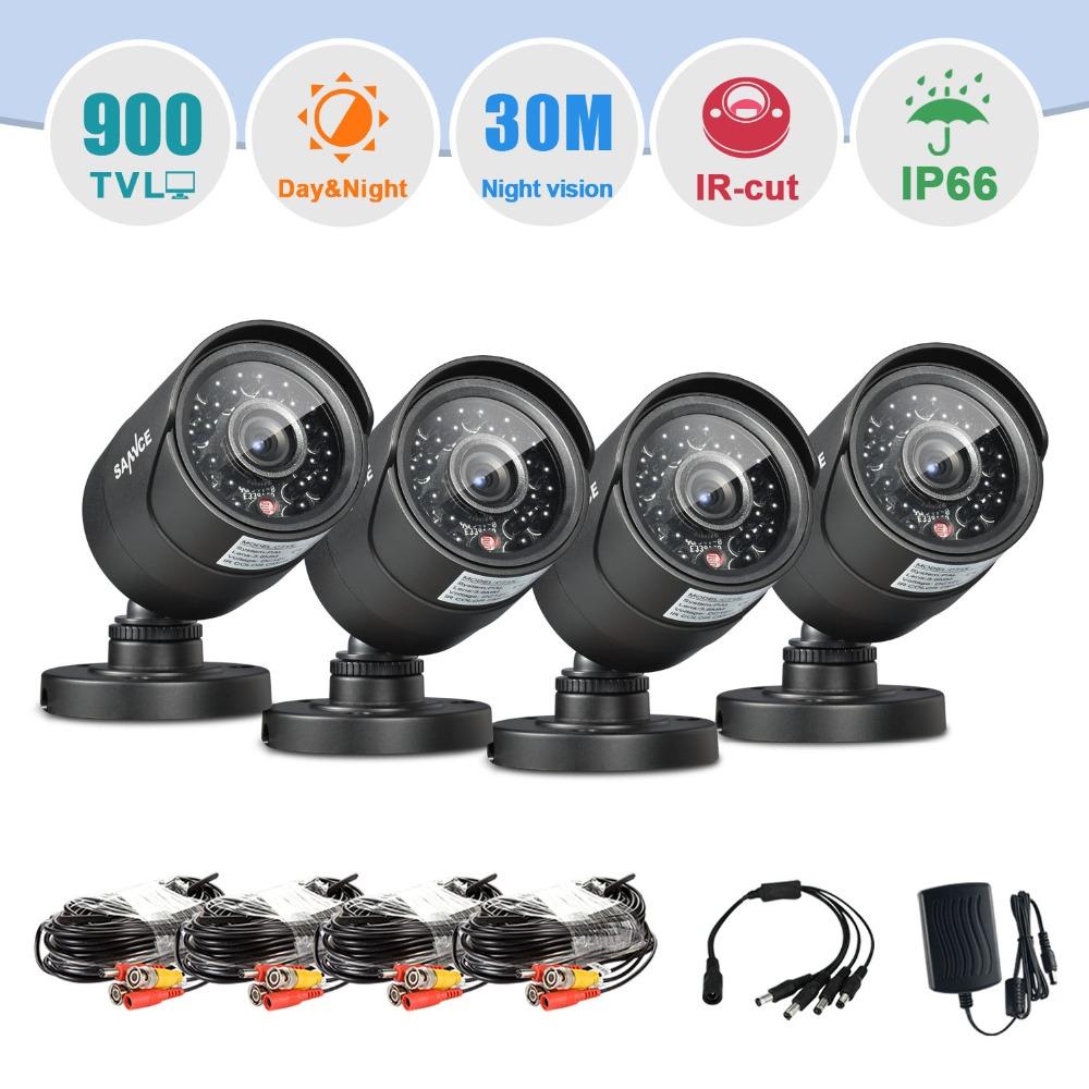 SANNCE 4PCS 900TVL High resolution CCTV Security Cameras home Video Surveillance cameras in CCTV system(China (Mainland))