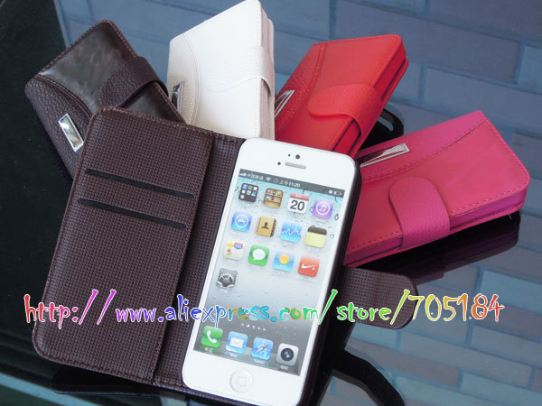 Hybrid Litchi smooth skin Wallet Flip PU leather skin cover case ID Credit card Stand Holder pouch pouches for Iphone 5C 20pcs
