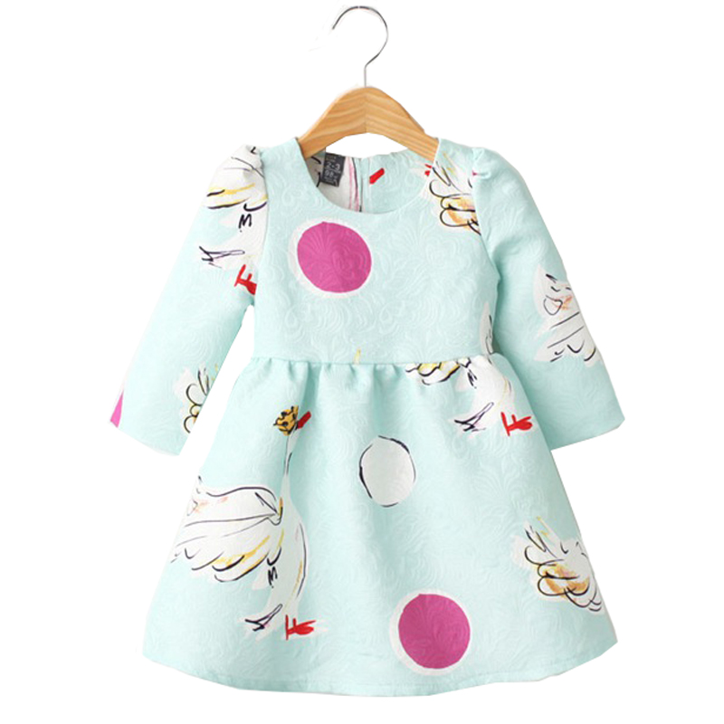 Girls Dresses Baby Clothes Swan jacquard printed 2015 kids Brand New fashion Autumn girls party princess dress children clothing<br><br>Aliexpress