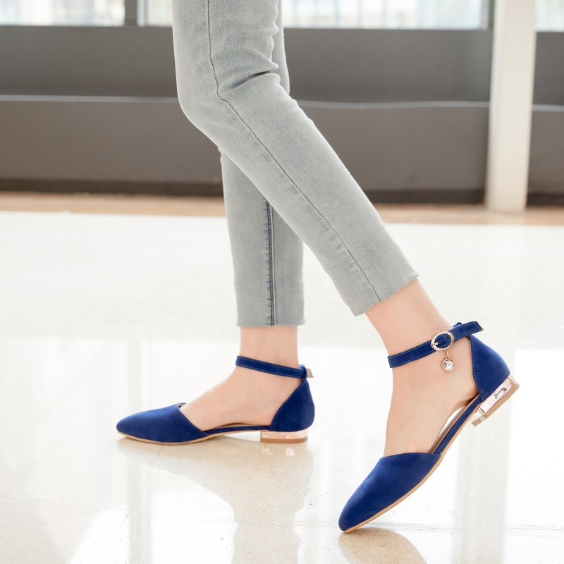 ENMAYDA Spring Autumn Flats Shoes Big Sizes 34-43 Casual Women Shoes 4 Colors Pointed Toe Flats Nubuck Leather Solid Flats