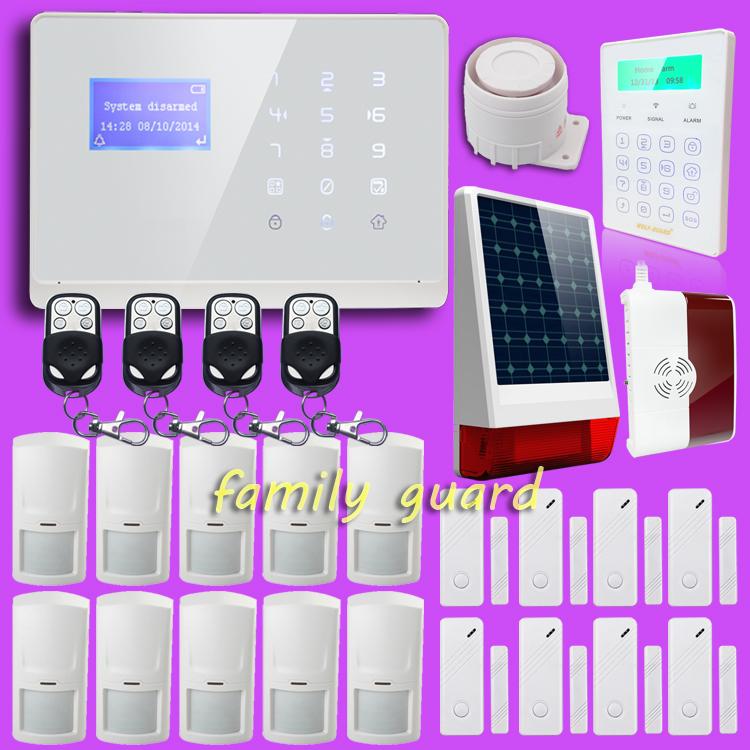 M2 APP intelligent DIY Wireless Solar Powered Strobe Touch Password Keypad GSM SMS PSTN Keypad Menu Screen Home Gas Alarm System<br><br>Aliexpress