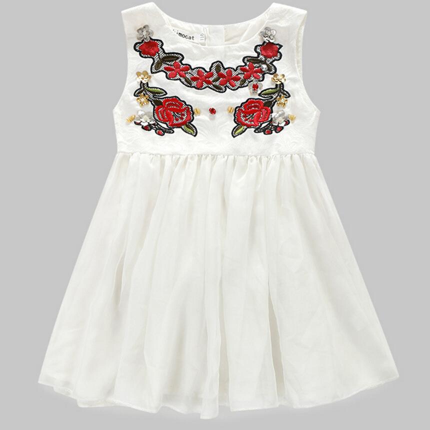 Retail new white bud silk gauze of tall waist round collar sleeveless vest dress,hot girls dress children's clothing white free(China (Mainland))