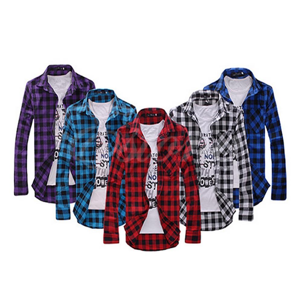 Hot Selling Lattice Long-sleeved Men's Shirt Korean Style Mens Stylish Slim Fit Casual & Dress Plaid Check Shirt