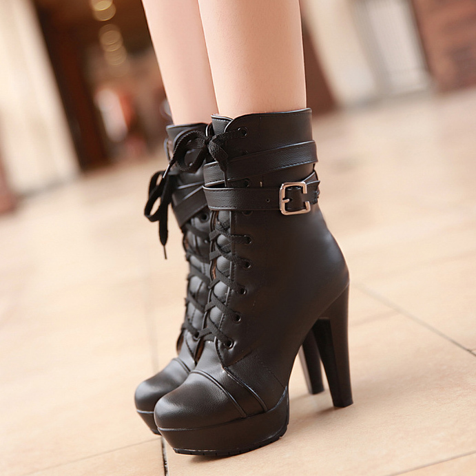 2015 fashion boots platform black high heel ankle