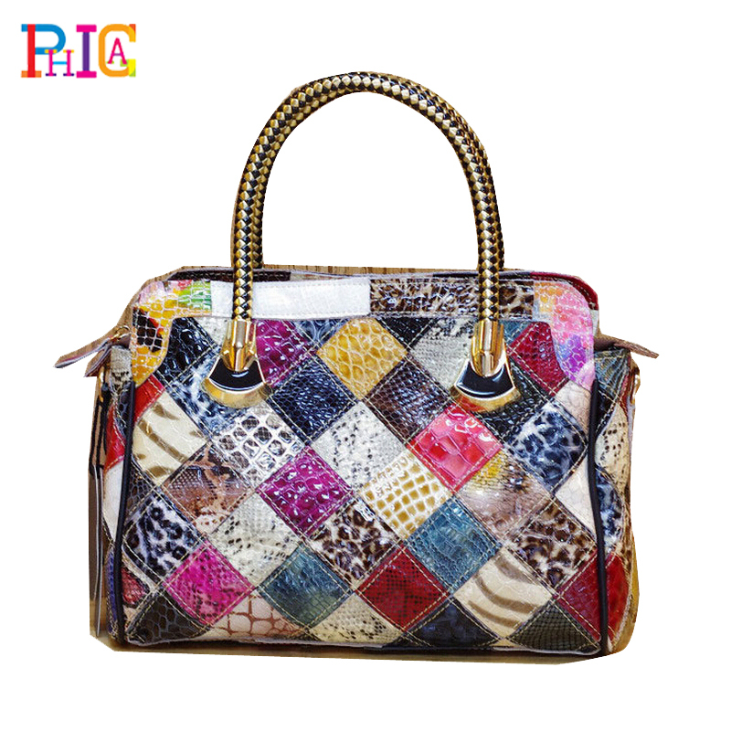 New Genuine Cow Patent Leather Womens Fashion Shining Satchel Handbags Colorful Tote Snake Print Patchwork Shoulder Bag(China (Mainland))