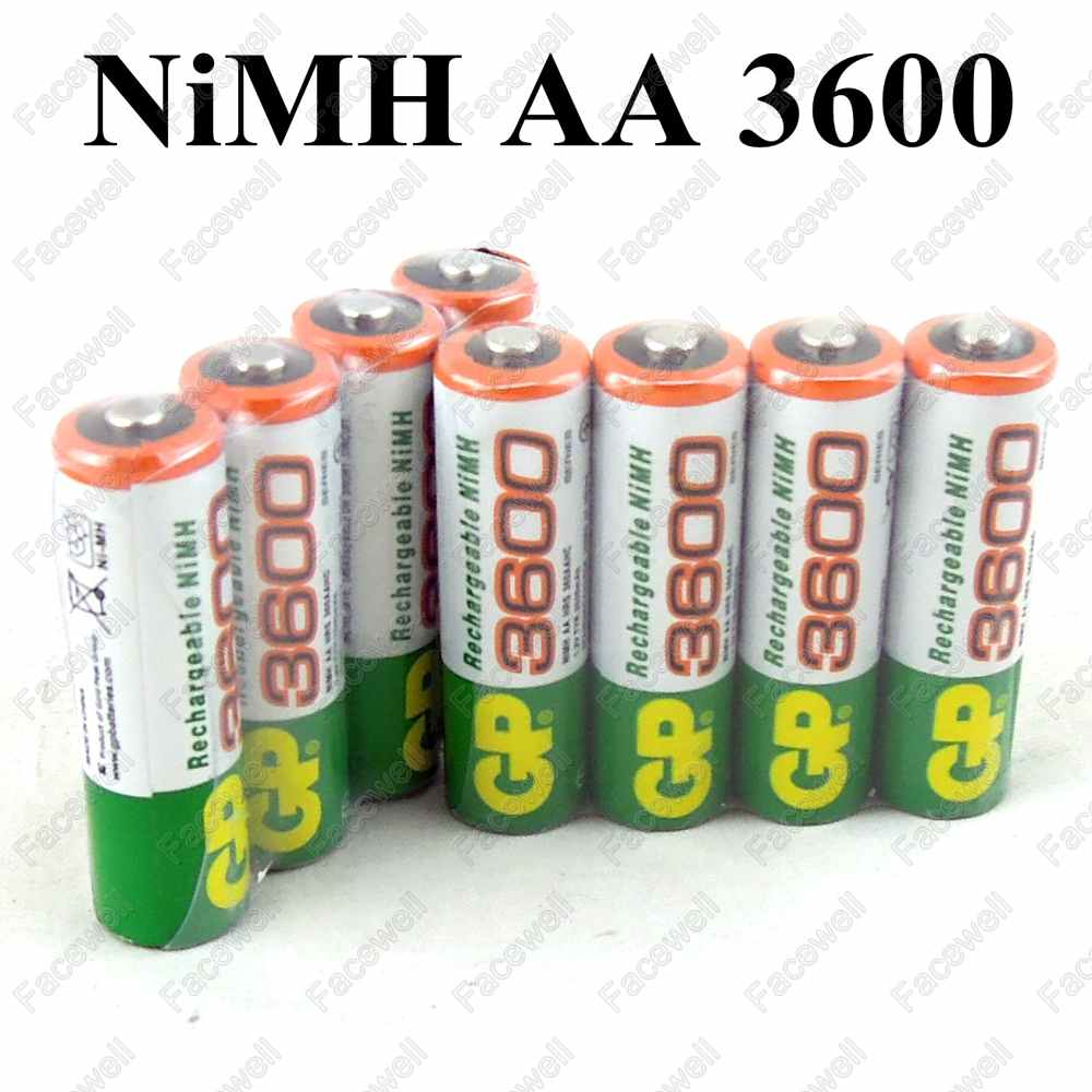 8pcs/Lot Hot sale! Original GP battery AA 3600 1.2V rechargeable battery gp aa 3600 replace AA for digital toys keyboard mouse(China (Mainland))