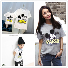 Family Look Miki Mouse T Shirts Summer Family Matching Clothes Mother Kids Outfits Cotton Tees Free Shipping 2016
