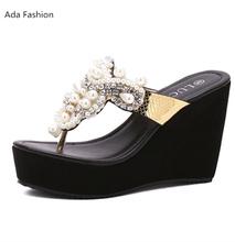 Women Sandals 2016 Summer Open Toe Sandals Platform Pearl Rhinestone flip flops Thick Heel High-heeled Shoes Women's Wedge Shoes