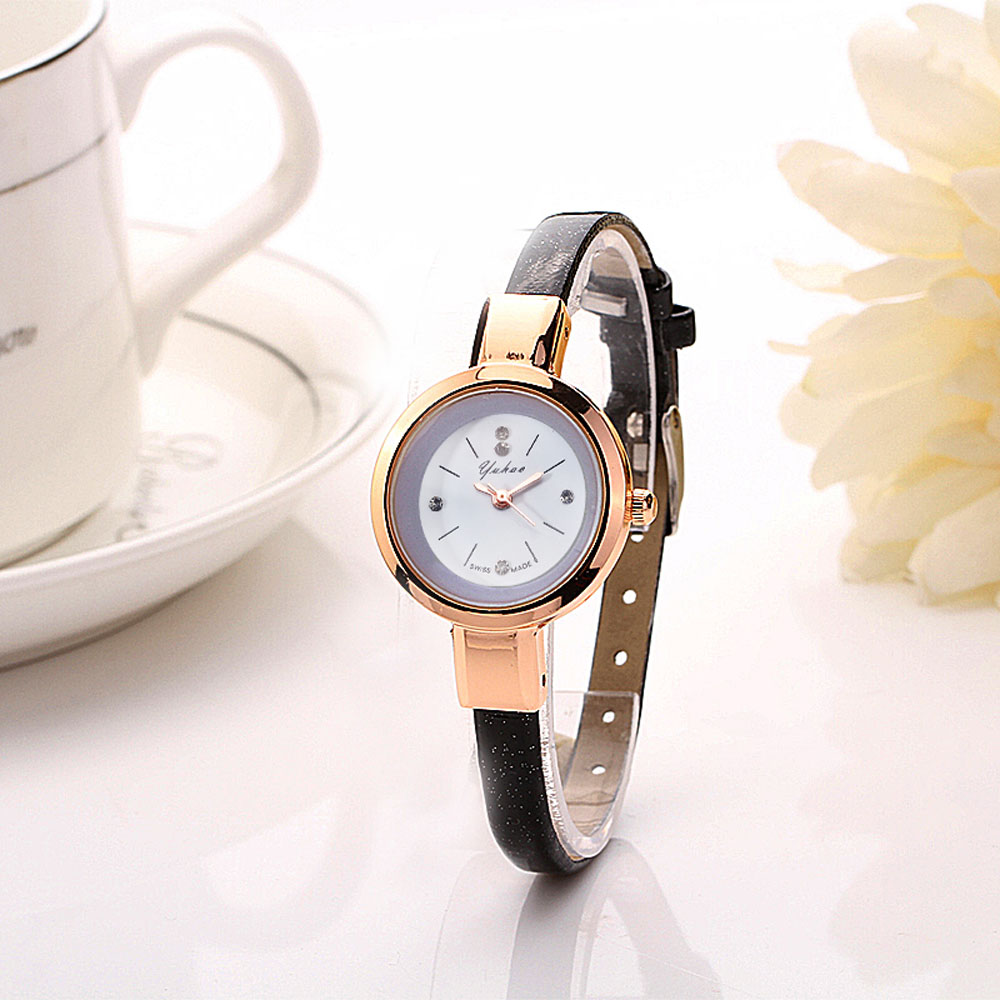 2016 luxury brand watch women fashion gold watch quartz clock girl slim band dress watches hours for Watches brands for girl