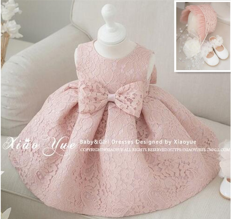 Newest Infant Baby Girl Dress 1 Year Birthday Dresses Baptism Christening Easter Gown Toddler Princess Dress for 3-18M With Hat(China (Mainland))